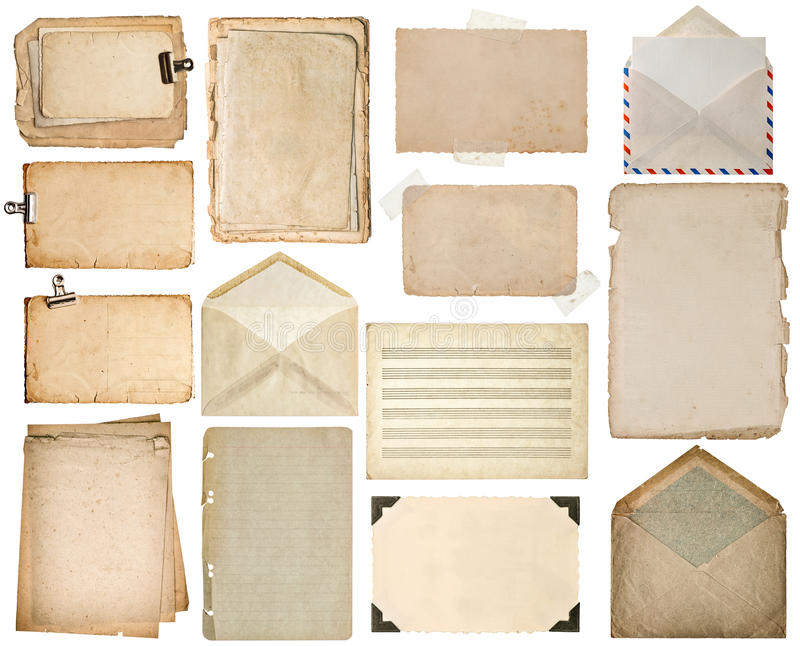 Used paper sheets. Old book pages, cardboards, music notes stock photography