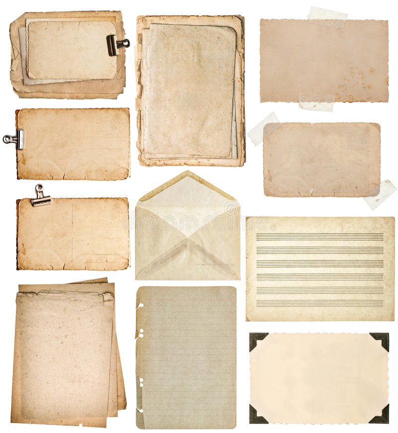 Used paper sheets. vintage book pages, cardboards, music notes, royalty free stock photos