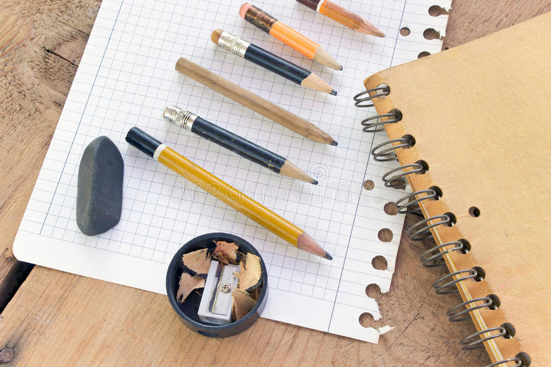 Used pencils and paper stock image