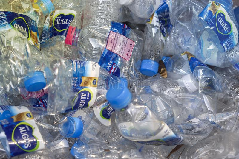 Used plasic bottles prepared for recycle process. stock photo