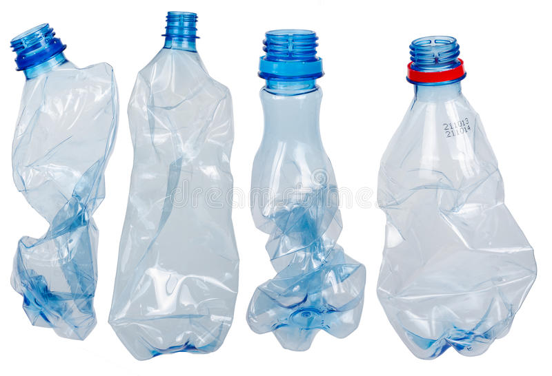 Used plastic bottles stock photo