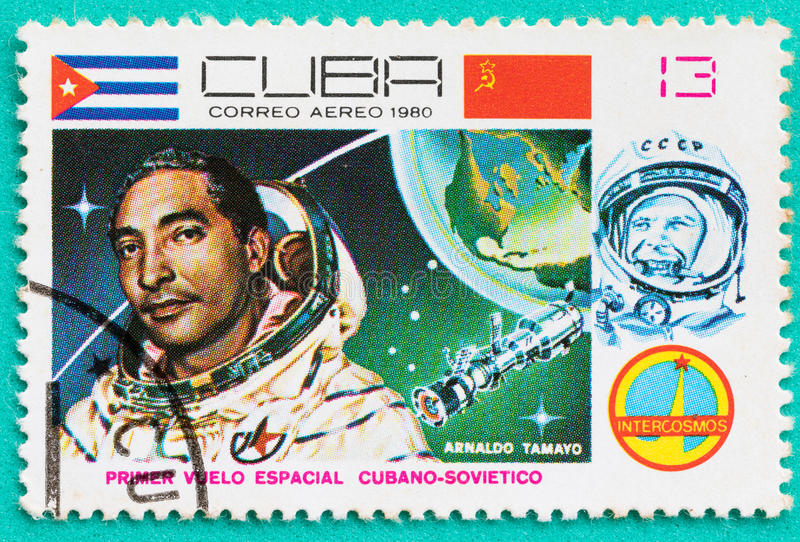 Used Postage stamps with printed in the Cuba space themes royalty free stock images