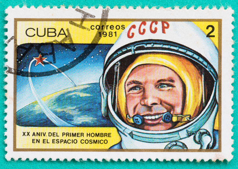 Used Postage stamps with printed in the Cuba space themes stock images