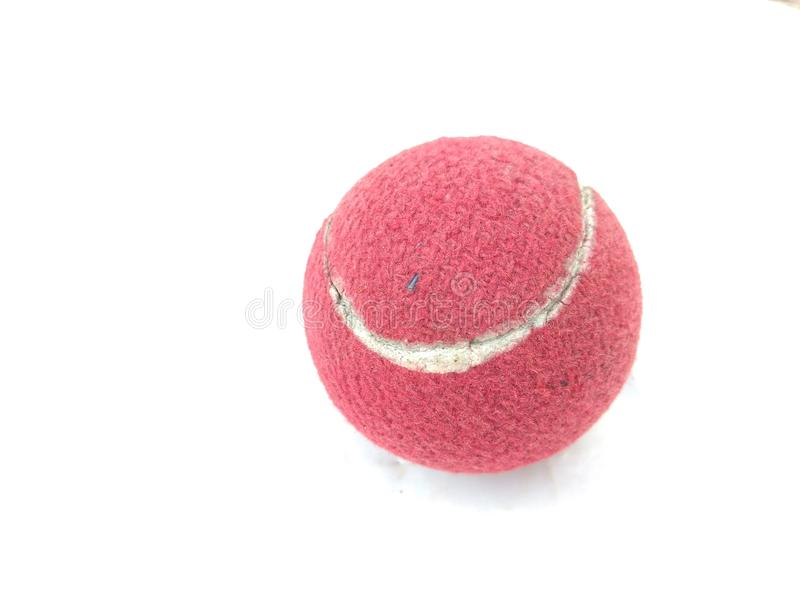 Used red colored Tennis Ball royalty free stock images