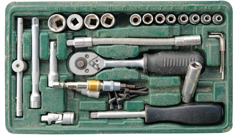 Used screwdriver block box set with dust must be cleaned. This tool box should be cleaned royalty free stock images