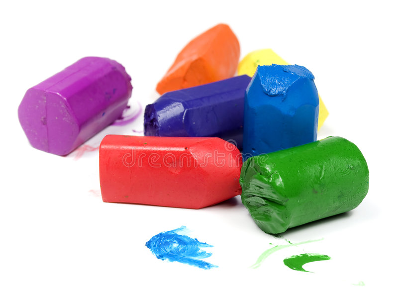 Used seven wax crayons stock photo