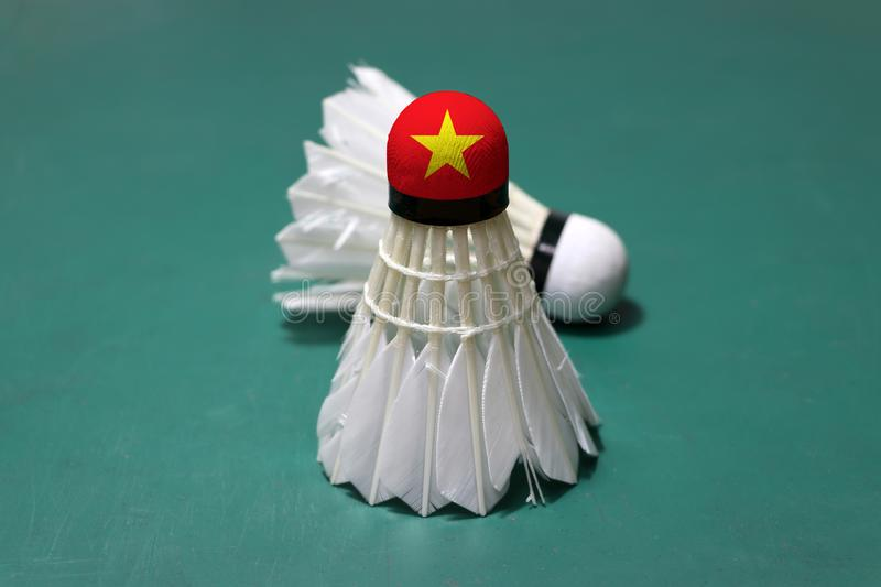 Used shuttlecock and on head painted with Vietnam flag put vertical and out focus shuttlecock put horizontal on green floor of. Badminton court. Badminton sport stock photo