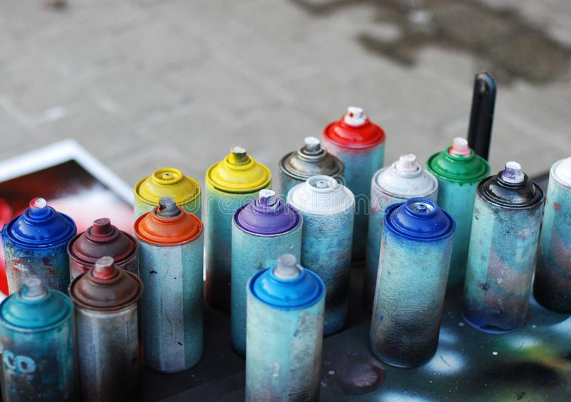 Used spray cans stock image