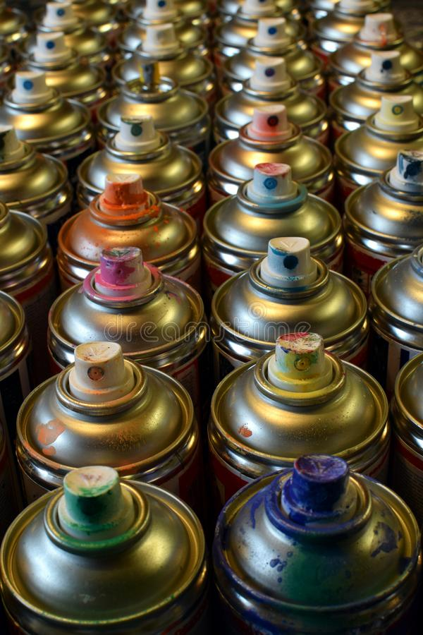 Used spray paint cans royalty free stock images