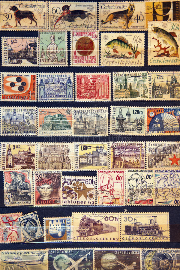 Used stamps from Czechoslovakia royalty free stock photography