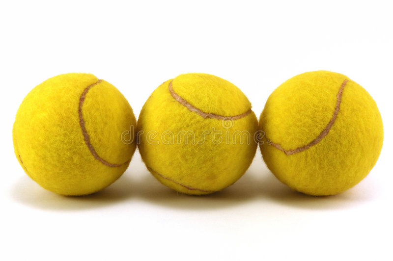 Used tennis balls stock images