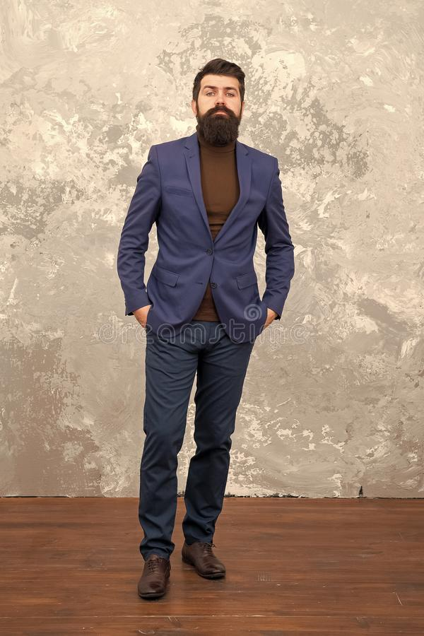 Used to look perfect. Man handsome bearded businessman wear luxury formal suit. Menswear and fashion concept. Guy brutal. Fashion model. Business people fashion royalty free stock photo