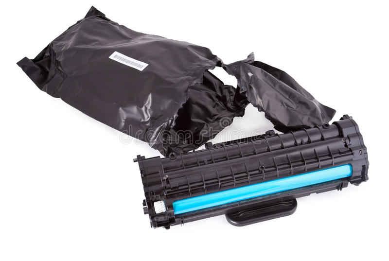 Used toner laser cartridge. For printer isolated on white royalty free stock photos