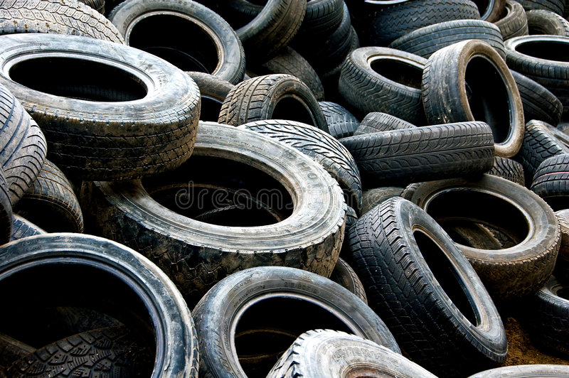 Used tyres 2 stock image
