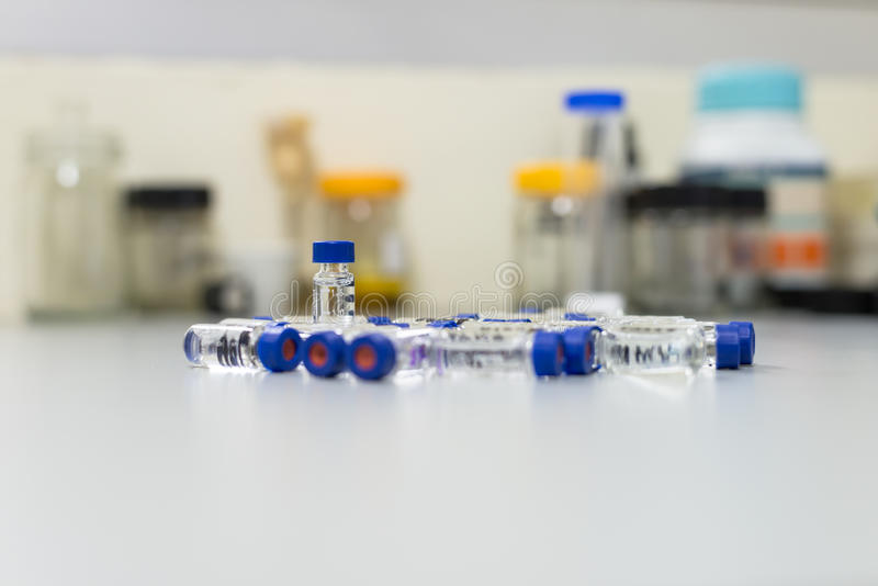 Download Used Vials In The Analytical Instrument Stock Photo - Image of drug, biology: 41350620