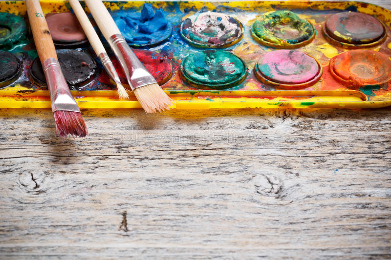 Used watercolor paintbox stock photo