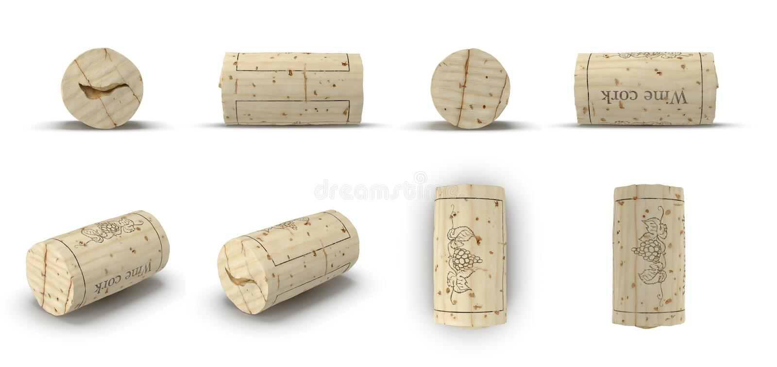 Used Wine Cork renders set from different angles on a white. 3D illustration. Used Wine Cork renders set from different angles on a white background. 3D vector illustration