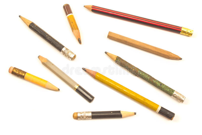 Used wooden pencils stock photos
