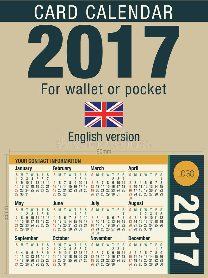 Download useful card calendar 2017 for wallet or pocket size 90mm x 55mm stock