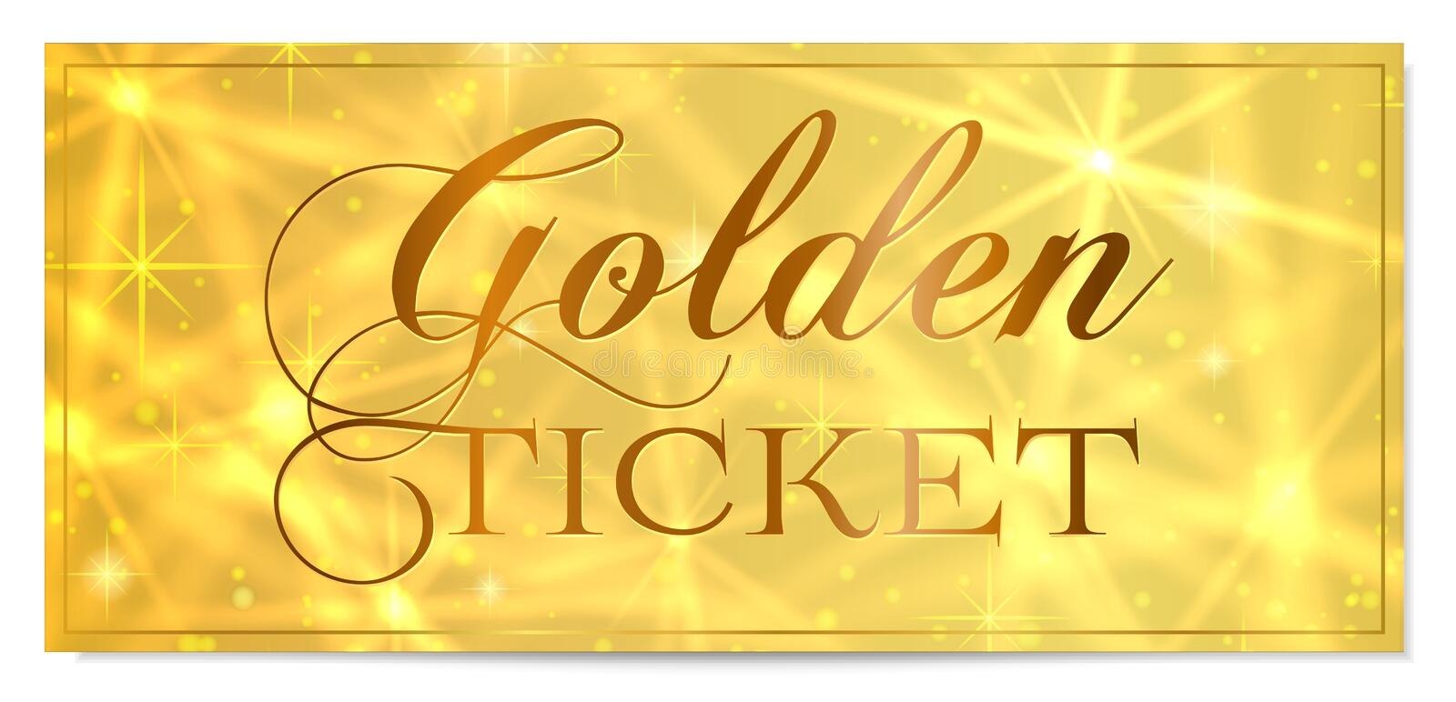 Golden Ticket, Gold Ticket Tear-off Vector Template Design With Star ...