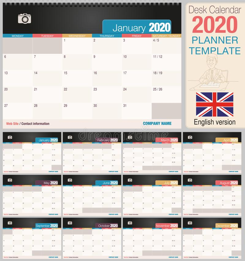 Useful desk calendar 2020 with space to place a photo. Size: 210 mm x 148 mm. English version vector illustration