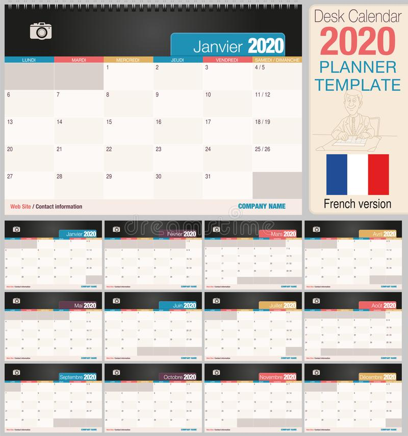 Useful desk calendar 2020 with space to place a photo. Size: 210 mm x 148 mm. French version vector illustration