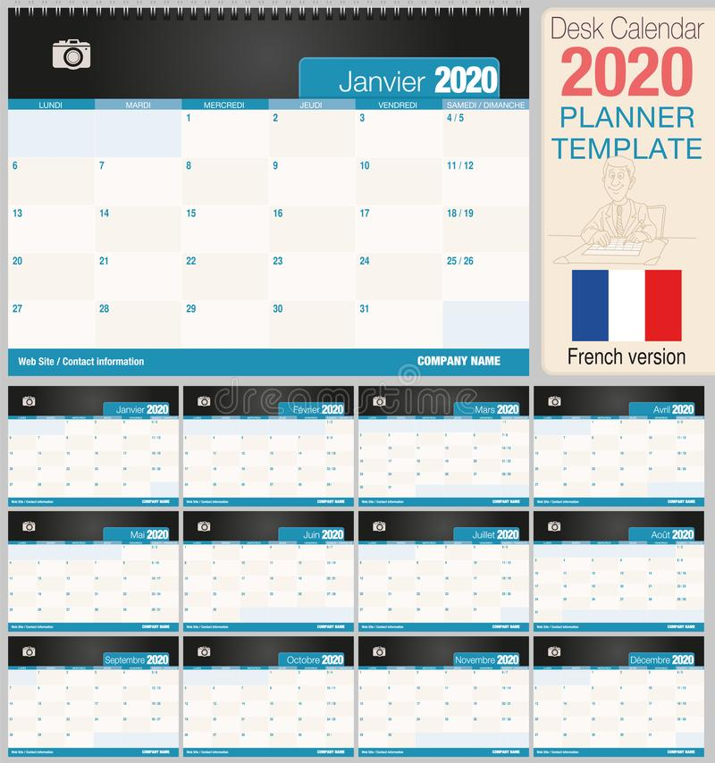 Useful desk calendar 2020 with space to place a photo. Size: 210 mm x 148 mm. French version royalty free illustration