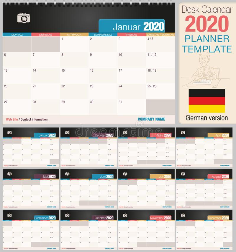 Useful desk calendar 2020 with space to place a photo. Size: 210 mm x 148 mm. German version vector illustration