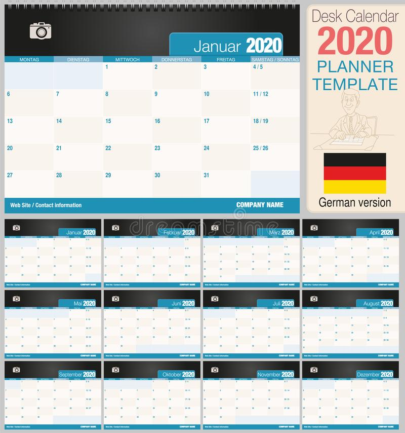 Useful desk calendar 2020 with space to place a photo. Size: 210 mm x 148 mm. German version stock illustration