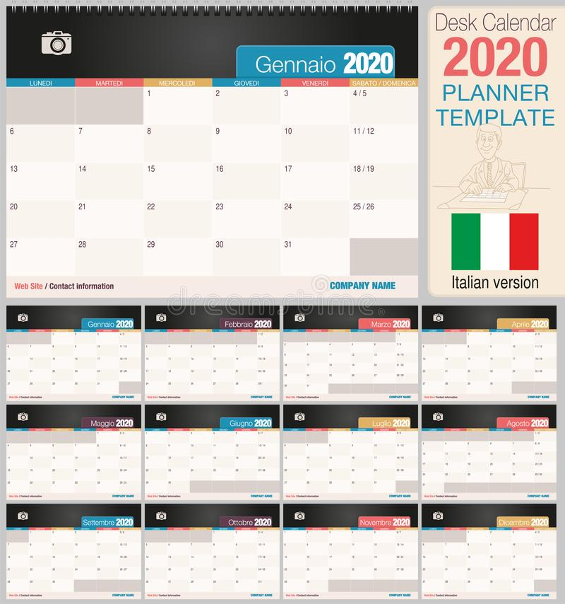 Useful desk calendar 2020 with space to place a photo. Size: 210 mm x 148 mm. Italian version royalty free illustration
