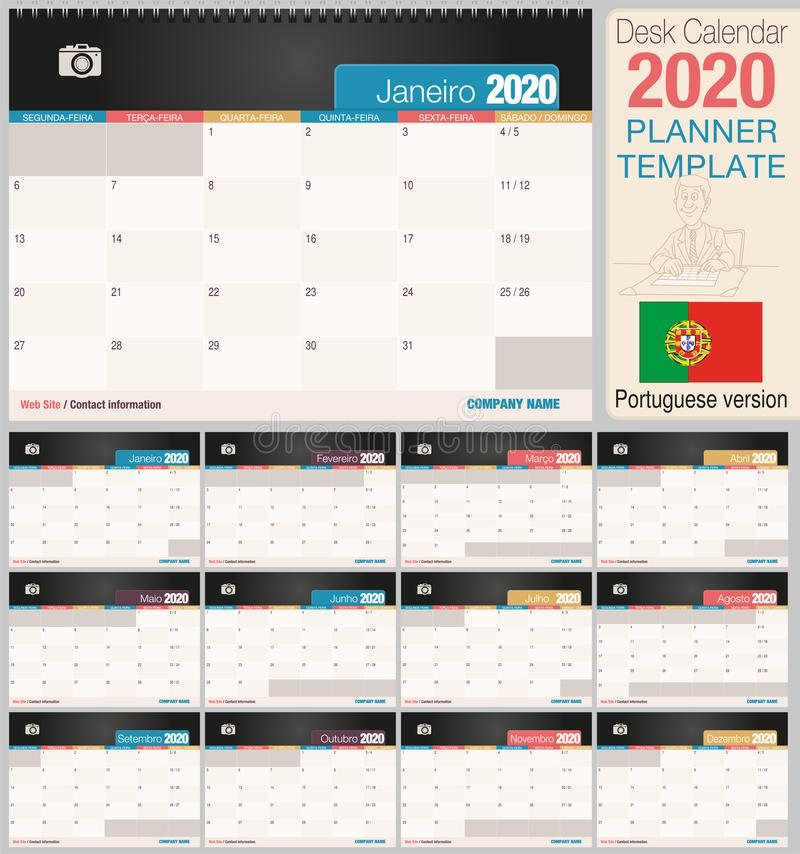 Useful desk calendar 2020 with space to place a photo. Size: 210 mm x 148 mm. Portuguese version stock illustration