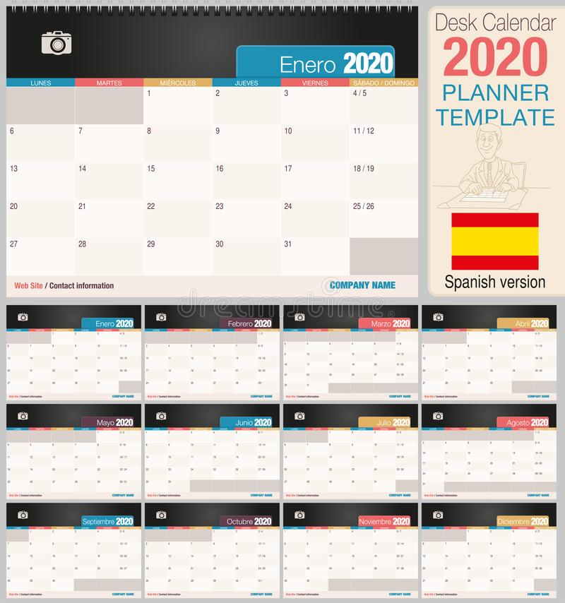 Useful desk calendar 2020 with space to place a photo. Size: 210 mm x 148 mm. Spanish version stock illustration