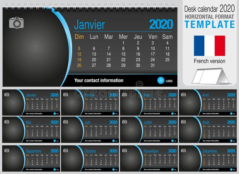 Useful desk triangle calendar 2020 template on black background, with space to place a photo. Size: 22 cm x 10 cm. Format stock images