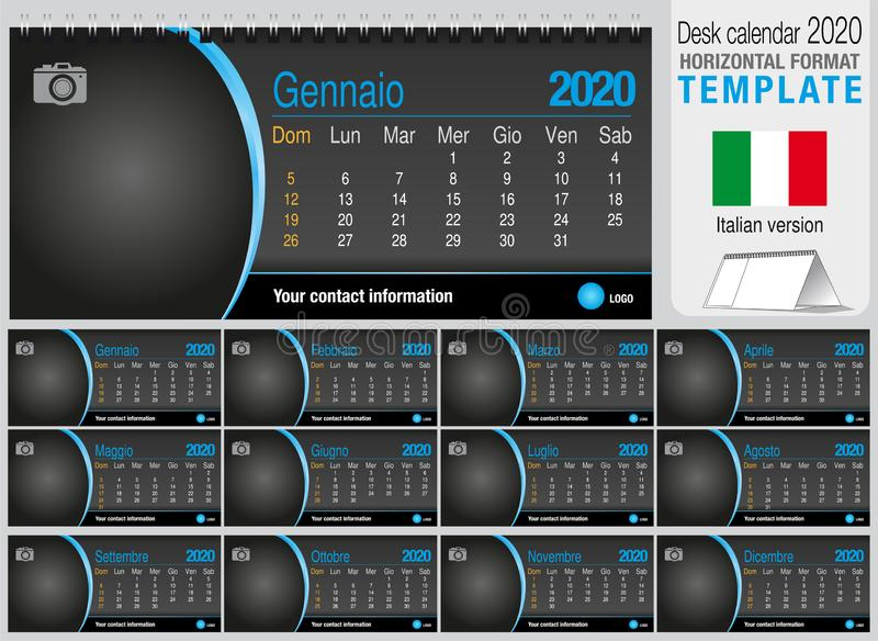 Useful desk triangle calendar 2020 template on black background, with space to place a photo. Size: 22 cm x 10 cm. Format stock photo