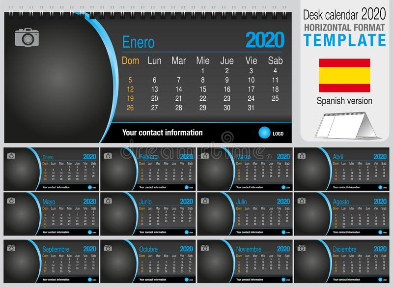 Useful desk triangle calendar 2020 template on black background, with space to place a photo. Size: 22 cm x 10 cm. Format royalty free stock images