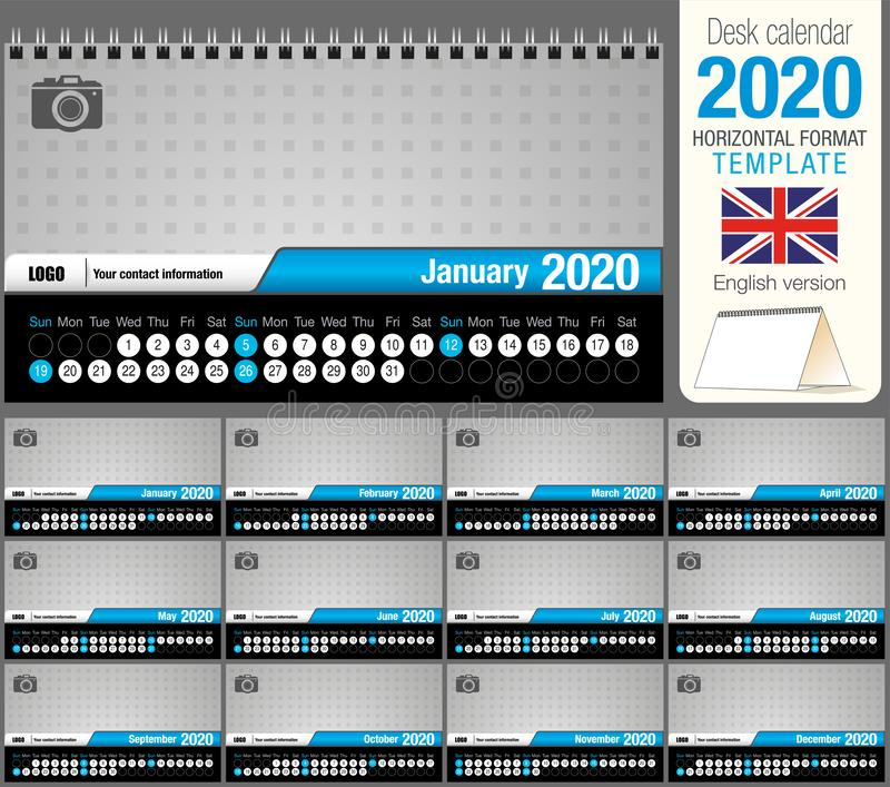 Useful desk triangle calendar 2020 template, with space to place a photo. Size: 22 cm x 12 cm. Format horizontal. English version royalty free illustration