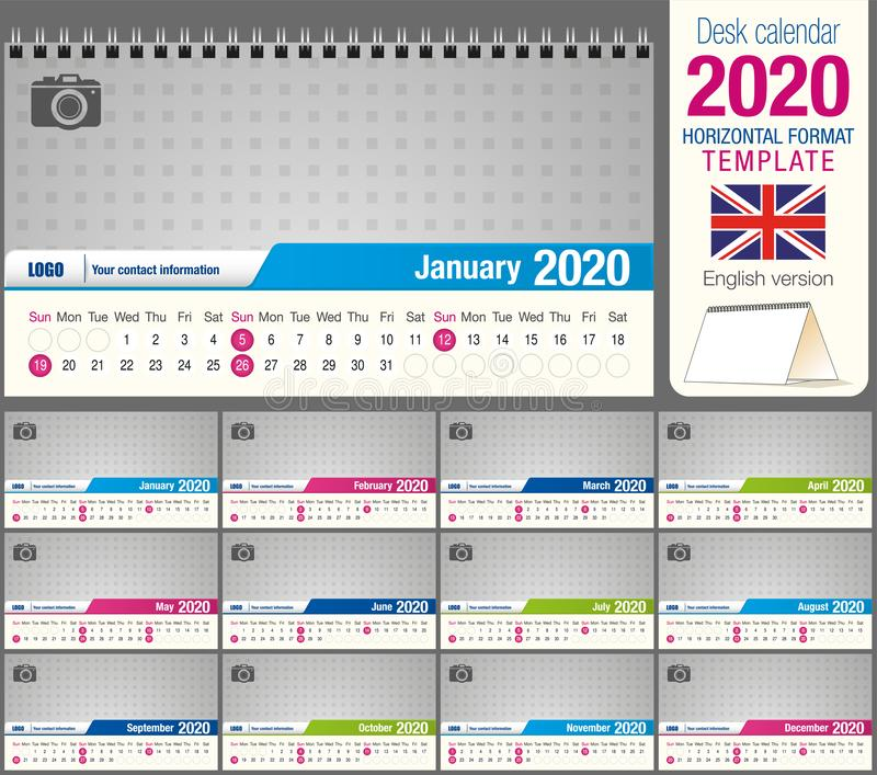 Useful desk triangle calendar 2020 template, with space to place a photo. Size: 22 cm x 12 cm. Format horizontal. English version vector illustration