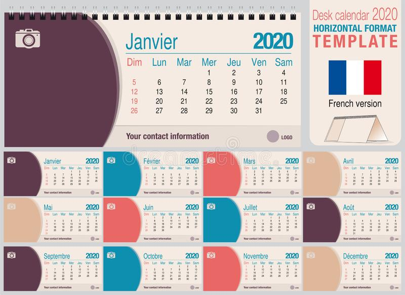 Useful desk triangle calendar 2020 template, with space to place a photo. Size: 22 cm x 10 cm. Format horizontal - French version royalty free stock photos