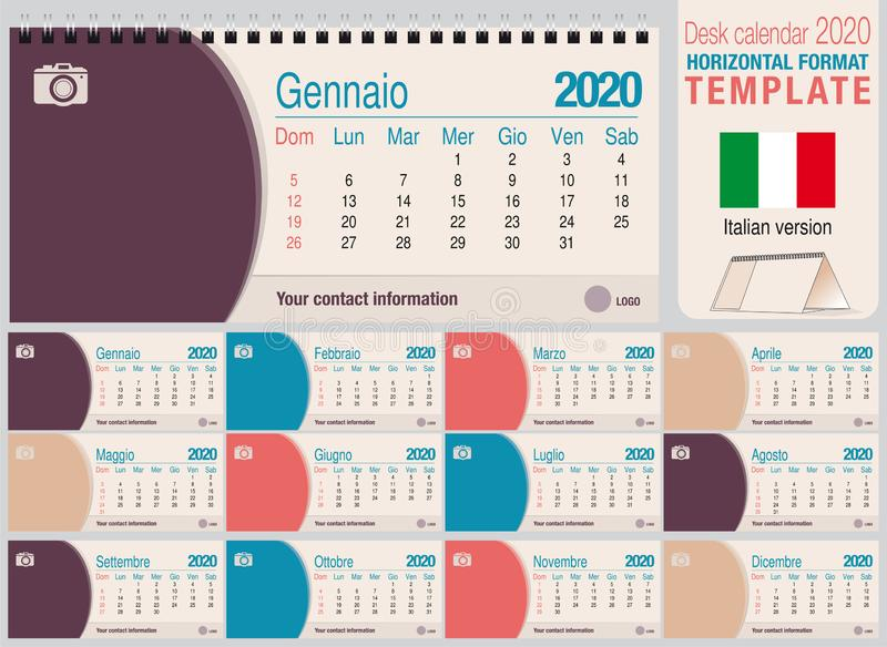 Useful desk triangle calendar 2020 template, with space to place a photo. Size: 22 cm x 10 cm. Format horizontal - Italian version royalty free stock photography