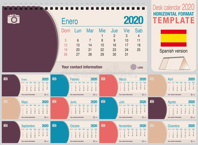 Useful desk triangle calendar 2020 template, with space to place a photo. Size: 22 cm x 10 cm. Format horizontal - Spanish version royalty free stock photos
