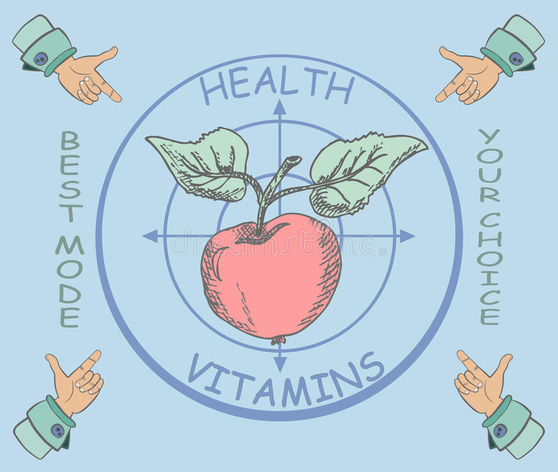 Useful and tasty apple for health. Sketch of apple on the background of the target, the hand with a finger in the corners. vitamins and health vector illustration