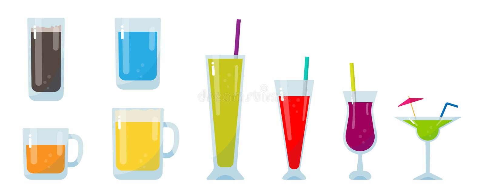 Colorful glass of drink set, stock images