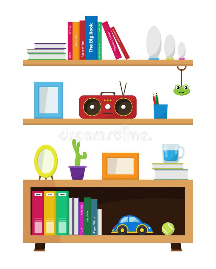 Book shelf with decorative concept objects royalty free stock photography