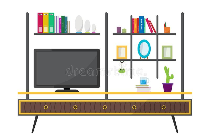 Green TV table with decorative furniture objects. stock photos