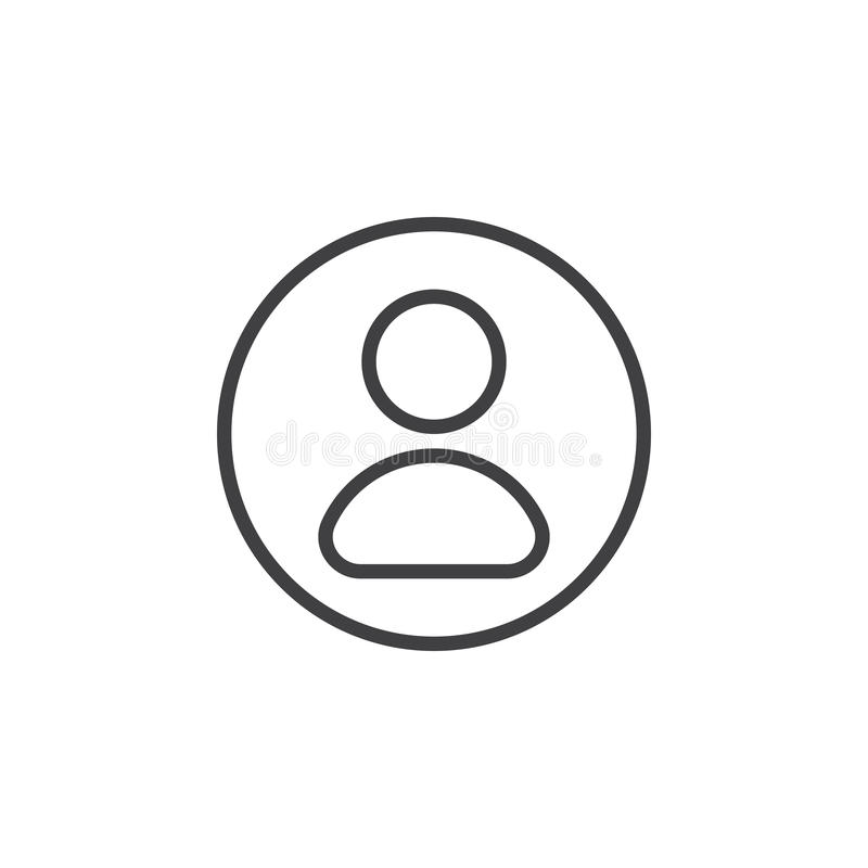 User, account circular line icon. Round simple sign. royalty free illustration