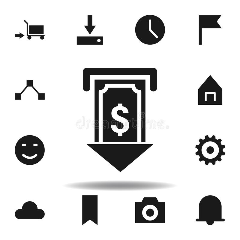 User atm dollar cash icon. set of web illustration icons. signs, symbols can be used for web, logo, mobile app, UI, UX. On white background vector illustration
