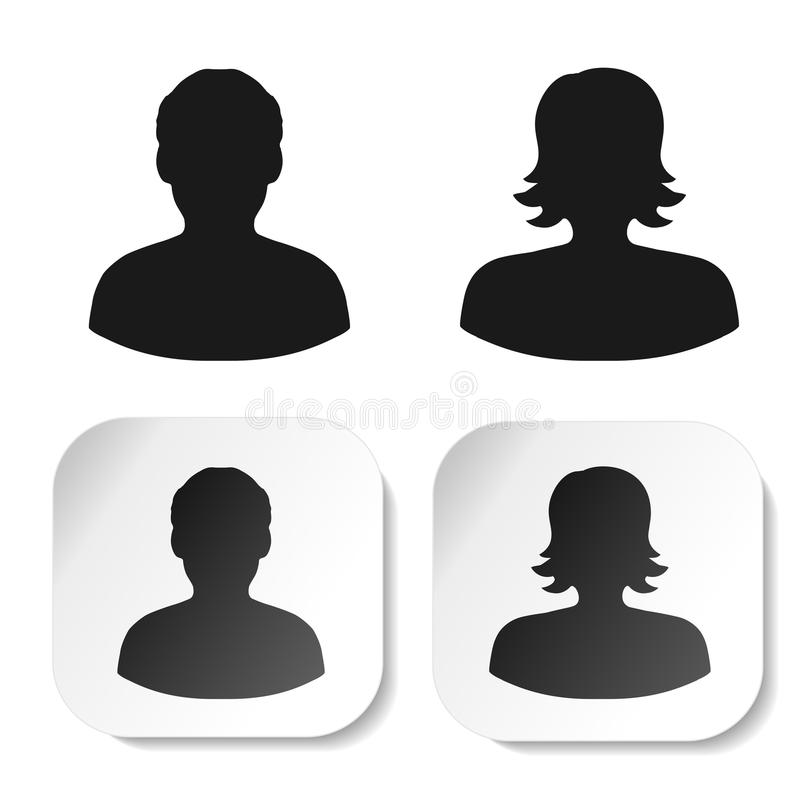 User black symbols. Simple man and woman silhouette. Profile labels on white square sticker. Sign of member or person on social ne stock illustration