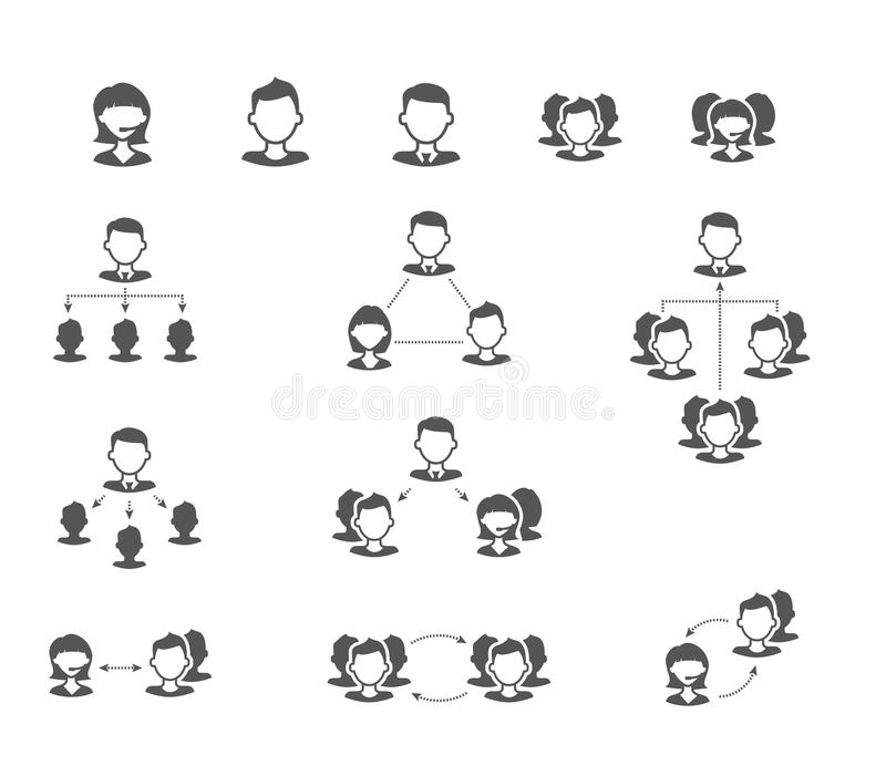 User collaboration diagram flat vector icons stock illustration