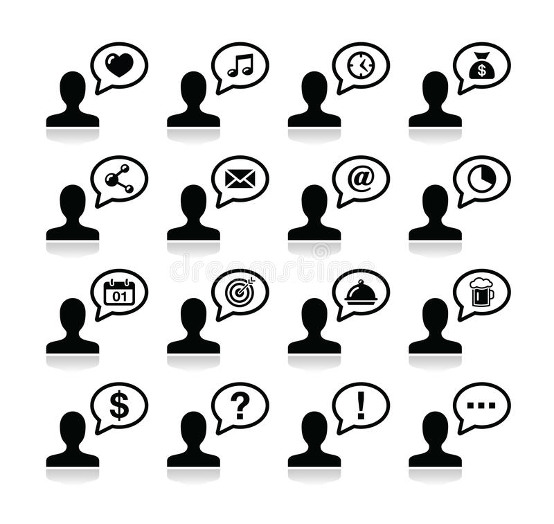 User communication, black icons set. Man with speach bubble - web page icon set with reflection stock illustration