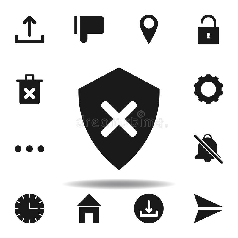 user cross shield icon. set of web illustration icons. signs, symbols can be used for web, logo, mobile app, UI, UX royalty free illustration